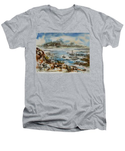Men's V-Neck T-Shirt featuring the painting Bay Scene by Xueling Zou