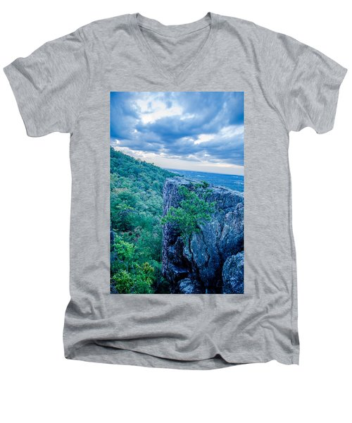Beautiful Aerial Landscape Views From Crowders Mountain Near Gas Men's V-Neck T-Shirt