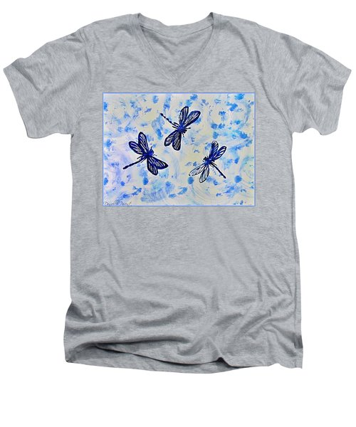 3 Blue Dragonflies Alcohol Ink Men's V-Neck T-Shirt