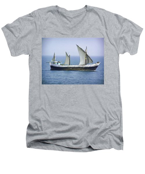 Fishing Vessel In The Arabian Sea Men's V-Neck T-Shirt
