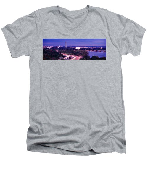 High Angle View Of A Cityscape Men's V-Neck T-Shirt by Panoramic Images