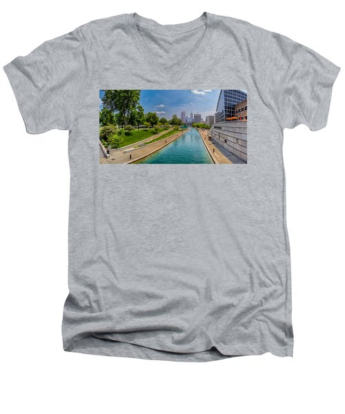 Indianapolis Skyline From The Canal Men's V-Neck T-Shirt