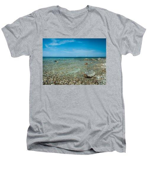 Men's V-Neck T-Shirt featuring the photograph Mackinac Bridge by Larry Carr