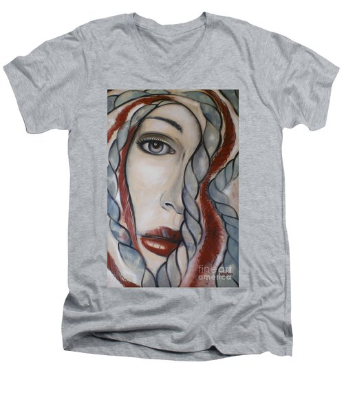 Men's V-Neck T-Shirt featuring the painting Melancholy 090409 by Selena Boron
