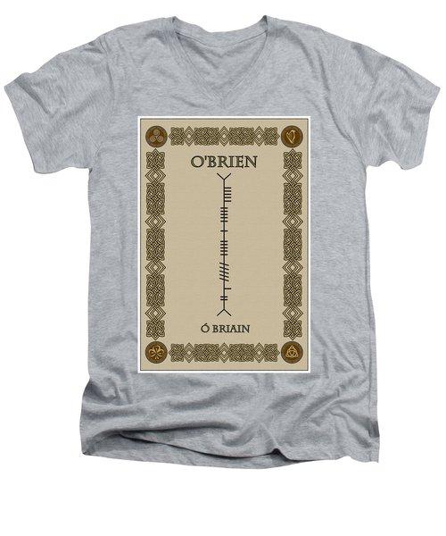 Men's V-Neck T-Shirt featuring the digital art O'brien Written In Ogham by Ireland Calling