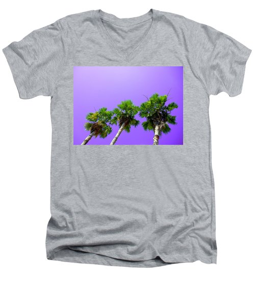 Men's V-Neck T-Shirt featuring the photograph 3 Palms by J Anthony