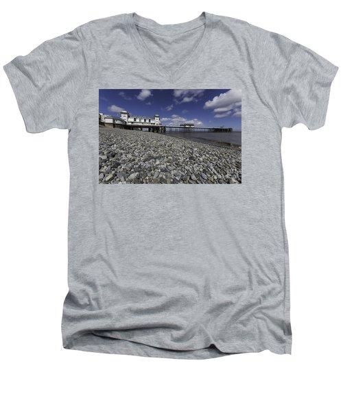 Penarth Pier 2 Men's V-Neck T-Shirt by Steve Purnell