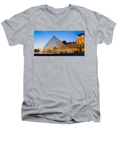 Pyramid In Front Of A Museum, Louvre Men's V-Neck T-Shirt by Panoramic Images