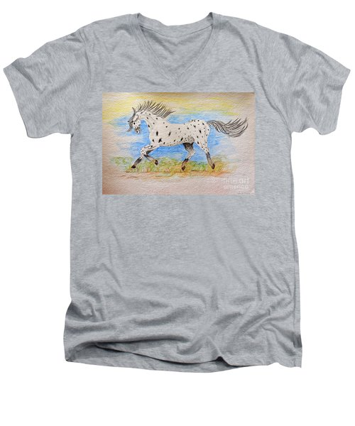 Running Free Men's V-Neck T-Shirt by Debbie Portwood
