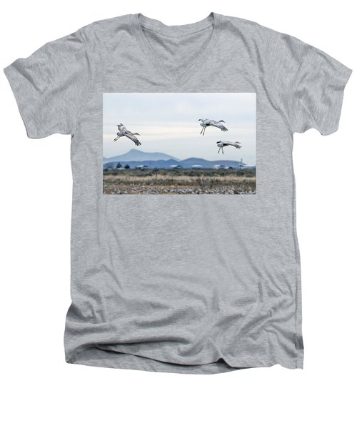 Sandhill Cranes Men's V-Neck T-Shirt by Tam Ryan