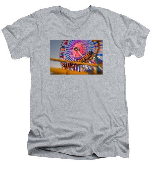 Santa Monica Pier Ferris Wheel And Roller Coaster At Dusk Men's V-Neck T-Shirt