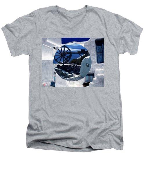 Santorini Island Greece Men's V-Neck T-Shirt