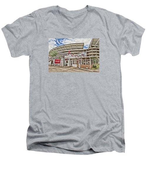 Shadow Of The Stadium Men's V-Neck T-Shirt by Scott Pellegrin