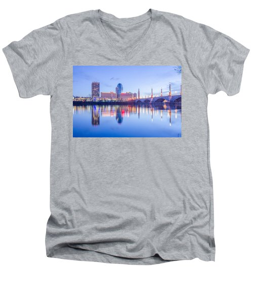 Springfield Massachusetts City Skyline Early Morning Men's V-Neck T-Shirt