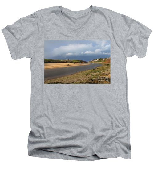 Men's V-Neck T-Shirt featuring the photograph Storm Approaches The Gannel Estuary Newquay Cornwall by Nicholas Burningham