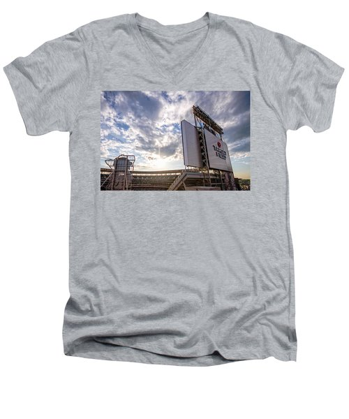 Target Field Sunset Men's V-Neck T-Shirt by Tom Gort