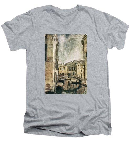 Venice Back In Time Men's V-Neck T-Shirt by Julie Palencia