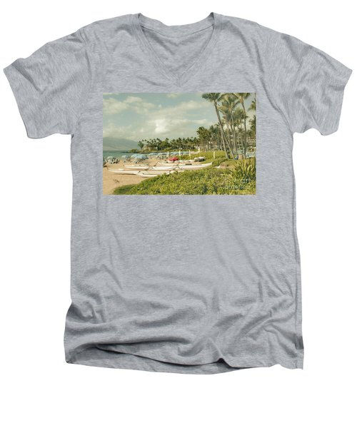 Wailea Beach Maui Hawaii Men's V-Neck T-Shirt by Sharon Mau