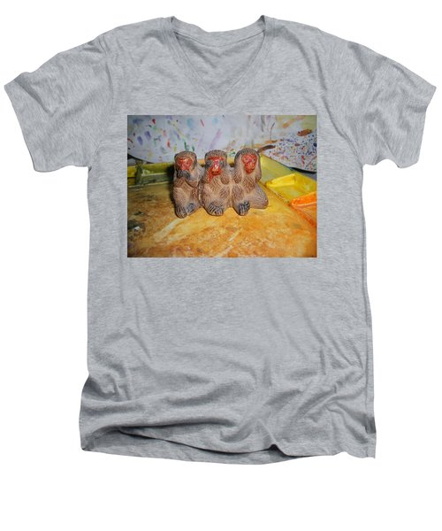 3 Wise Monkeys Watercolor Pallet Men's V-Neck T-Shirt