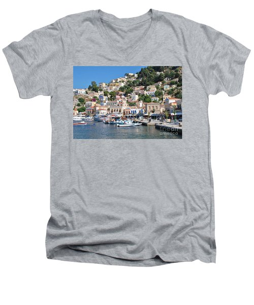 Yialos Harbour Symi Men's V-Neck T-Shirt