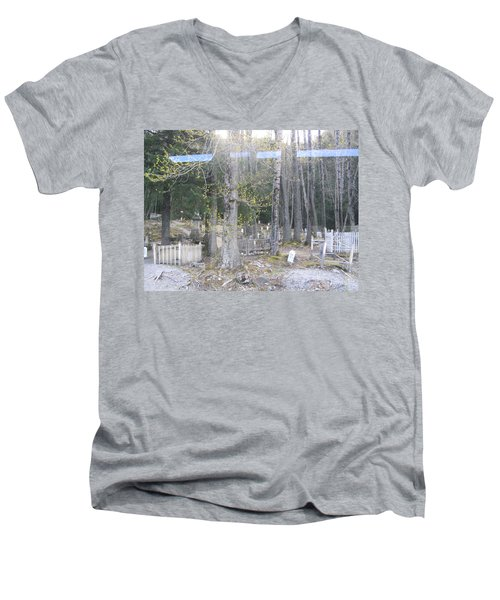 Men's V-Neck T-Shirt featuring the photograph 300yr Cemetery by Brian Williamson