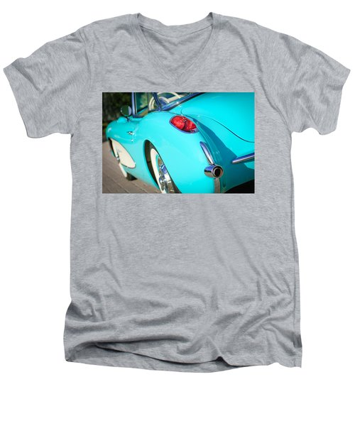 Men's V-Neck T-Shirt featuring the photograph 1957 Chevrolet Corvette Taillight by Jill Reger