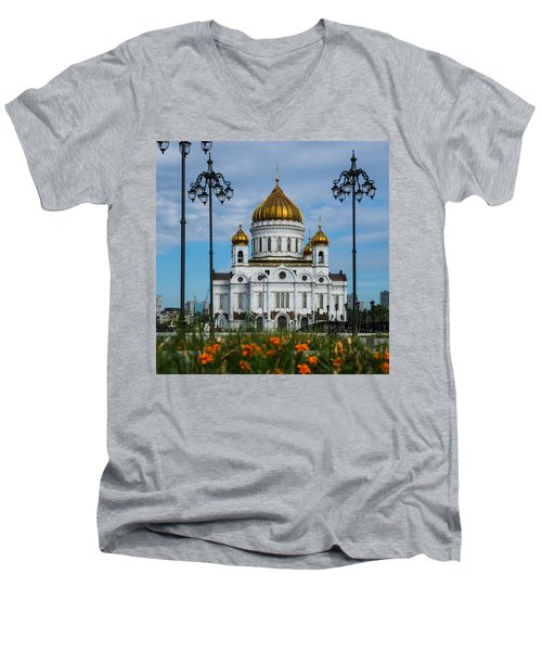 Cathedral Of Christ The Savior Of Moscow - Russia - Featured 3 Men's V-Neck T-Shirt