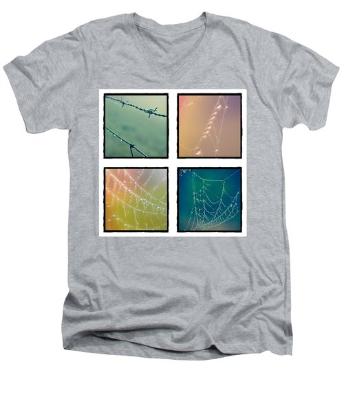 4 Color Web Droplets Men's V-Neck T-Shirt