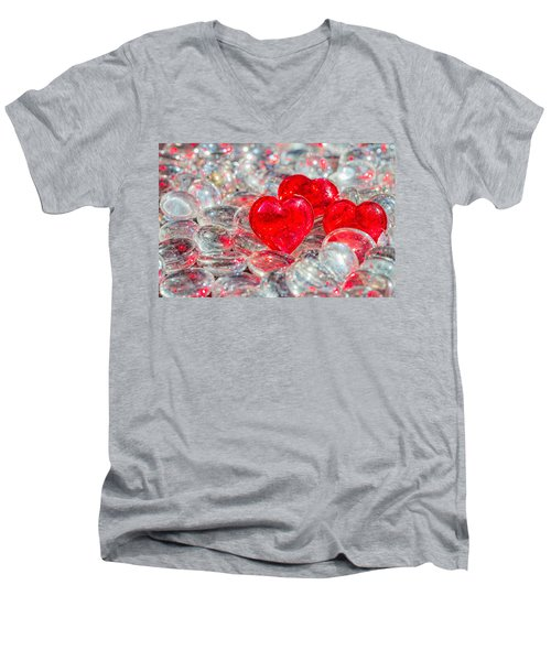 Crystal Heart Men's V-Neck T-Shirt