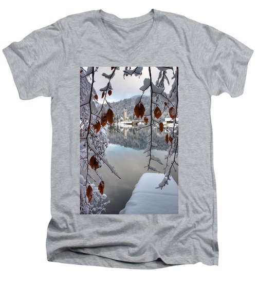 Lake Bohinj In Winter Men's V-Neck T-Shirt