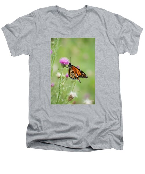 Men's V-Neck T-Shirt featuring the photograph Monarch Butterfly by Heidi Poulin