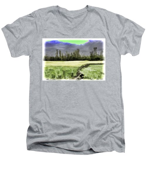 Mustard Fields In Kashmir Men's V-Neck T-Shirt