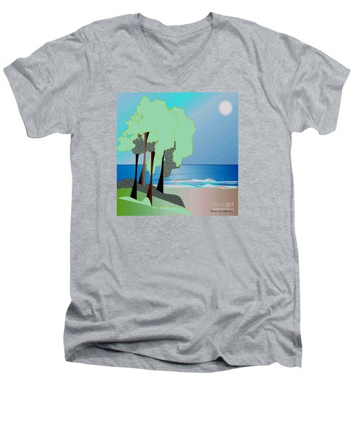 Men's V-Neck T-Shirt featuring the digital art My Special Island by Iris Gelbart