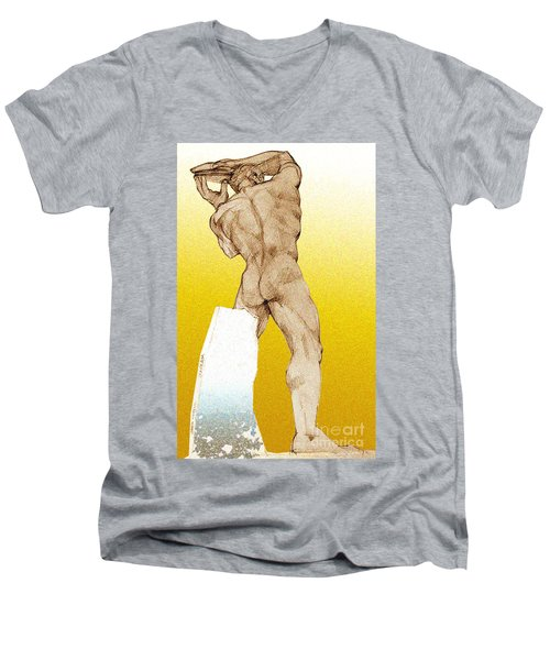 Men's V-Neck T-Shirt featuring the drawing Olympic Athletics Discus Throw by Greta Corens