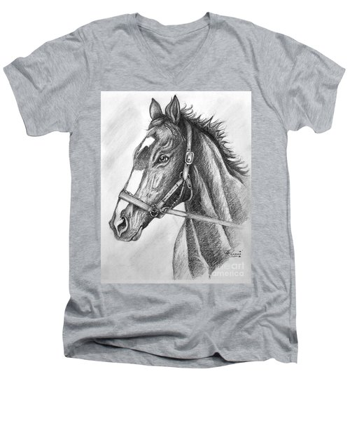 Men's V-Neck T-Shirt featuring the drawing Rachel Alexandra by Patrice Torrillo
