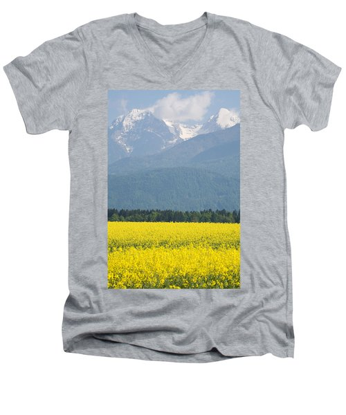 rapeseed field in Brnik with Kamnik Alps in the background Men's V-Neck T-Shirt