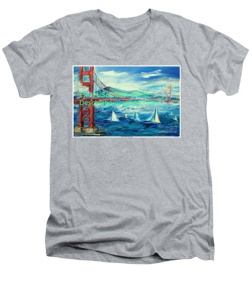 San Francisco Golden Gate Bridge Men's V-Neck T-Shirt by Eric  Schiabor