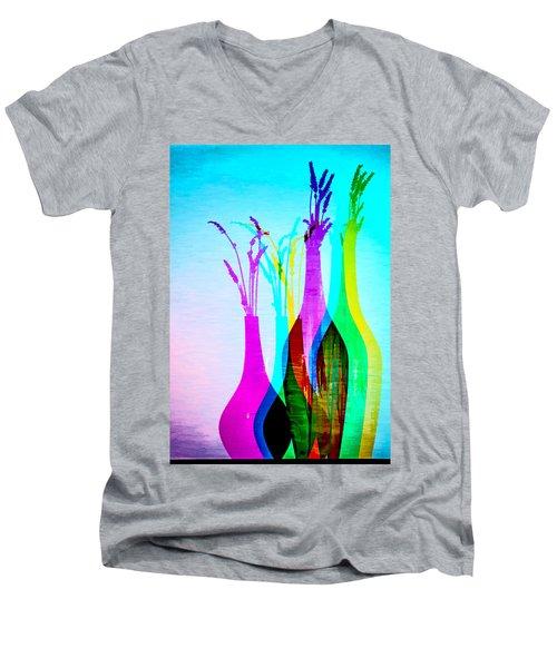 4 Vases In Colored Light Silhouettes Men's V-Neck T-Shirt