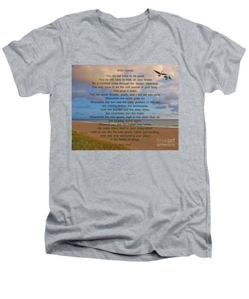 40- Wild Geese Mary Oliver Men's V-Neck T-Shirt