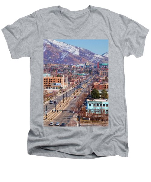 Men's V-Neck T-Shirt featuring the photograph 400 S Salt Lake City by Ely Arsha