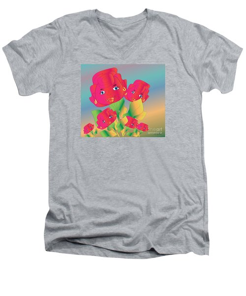 Men's V-Neck T-Shirt featuring the digital art Family by Iris Gelbart