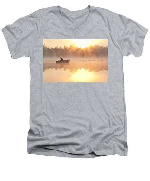 Sunrise In Fog Lake Cassidy With Fisherman In Small Fishing Boat Men's V-Neck T-Shirt