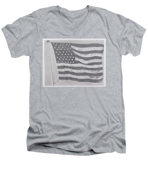 Men's V-Neck T-Shirt featuring the pastel 50 Stars 13 Stripes by Wil Golden