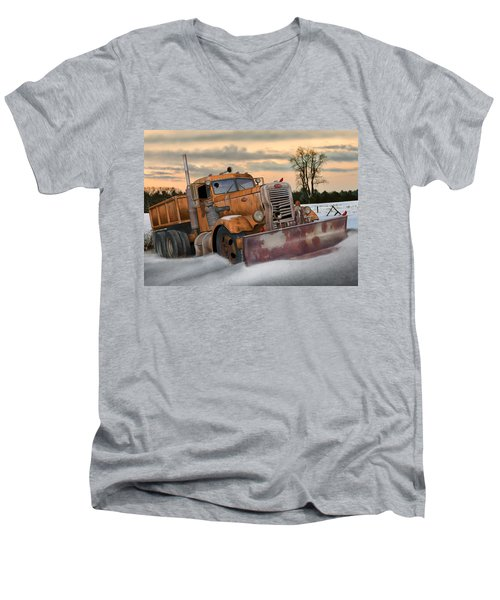 Men's V-Neck T-Shirt featuring the digital art '55 Pete Snowplow by Stuart Swartz