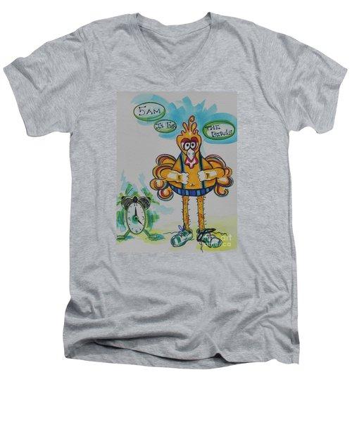 5am Is For The Birds Men's V-Neck T-Shirt by Chrisann Ellis
