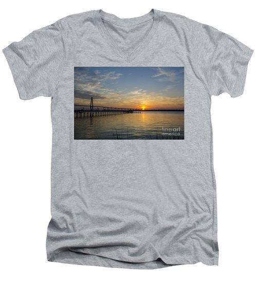 Arthur Ravenel Bridge Tranquil Sunset Men's V-Neck T-Shirt by Dale Powell