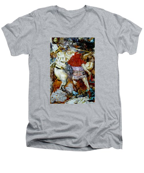 Men's V-Neck T-Shirt featuring the painting Battle Of Grunwald by Henryk Gorecki