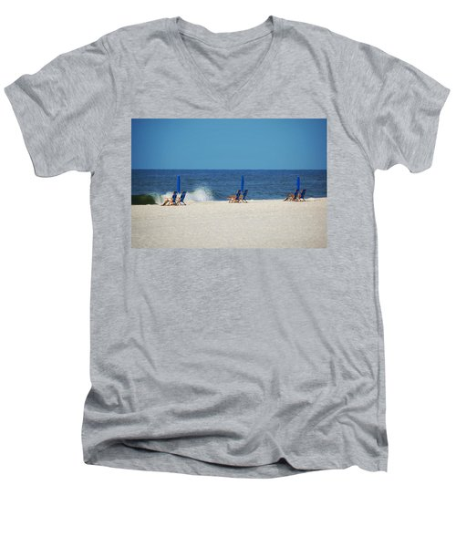Men's V-Neck T-Shirt featuring the digital art 6 Chairs And Umbrella by Michael Thomas