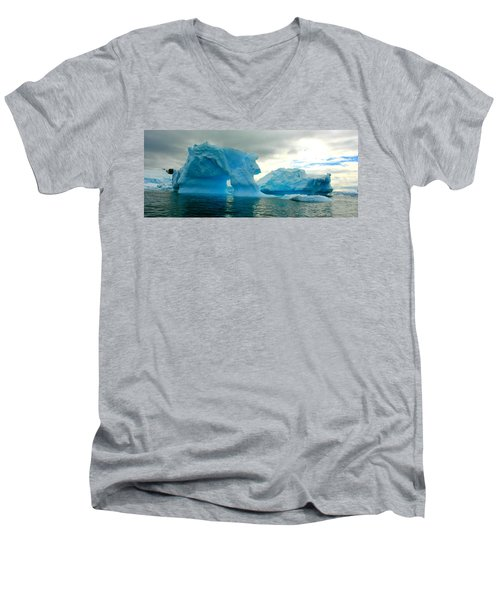 Men's V-Neck T-Shirt featuring the photograph Icebergs by Amanda Stadther