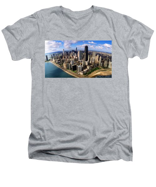 Chicago Il Men's V-Neck T-Shirt by Panoramic Images